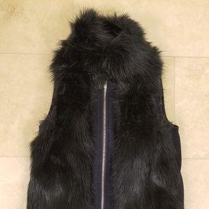 Tommy Hilfiger Navy Faux Fur Vest, Size XS